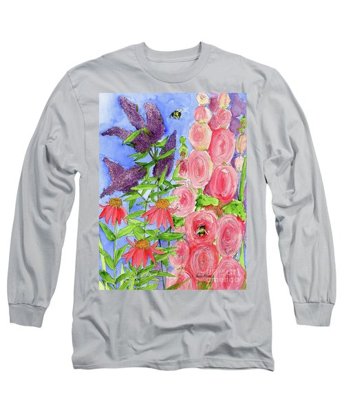 Cottage Garden Hollyhock Bees Blue Skie Long Sleeve T-Shirt