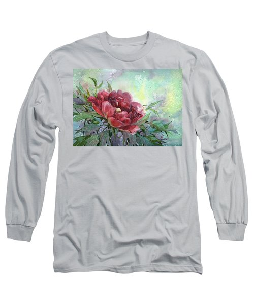Dark Red Peony Flower Long Sleeve T-Shirt