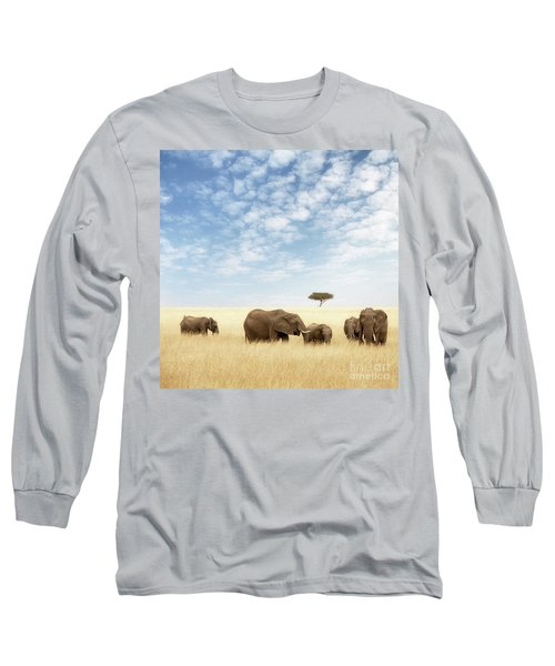 Elephant Group In The Grassland Of The Masai Mara Long Sleeve T-Shirt