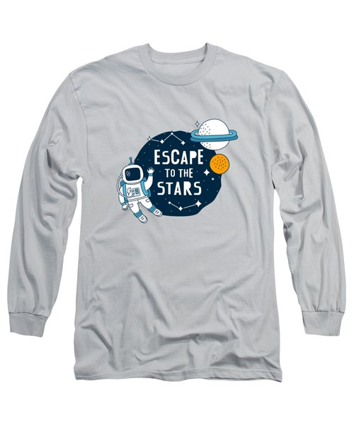 Escape To The Stars - Baby Room Nursery Art Poster Print Long Sleeve T-Shirt