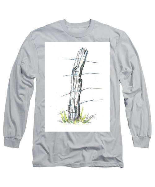 Fence Post Colored Pencil Sketch  Long Sleeve T-Shirt