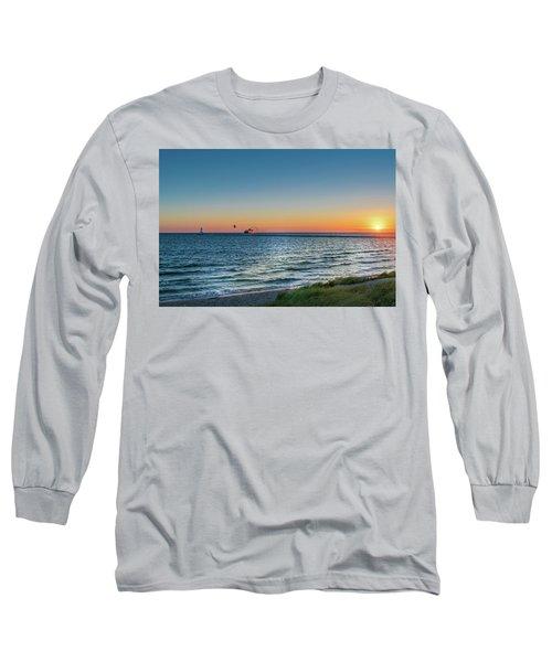 Ferry Going Into Sunset Long Sleeve T-Shirt