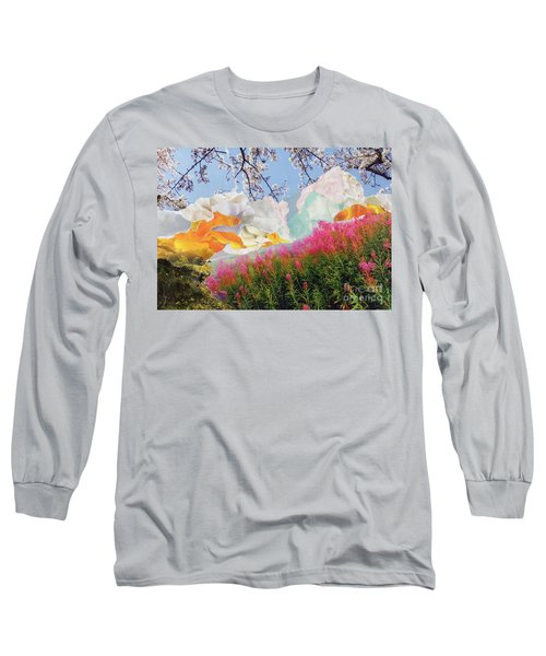 Field Of Glory Torn Paper Landscape Collage Long Sleeve T-Shirt