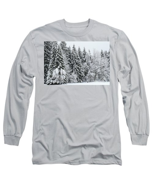 French Alps, Snow Covered Fir Trees In Winter  Photo Long Sleeve T-Shirt