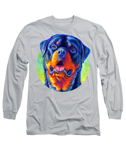 Gentle Guardian Colorful Rottweiler Dog Long Sleeve T-Shirt
