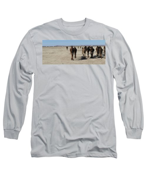 Herd Of Camels Crossing The Highway Near  Rissani Long Sleeve T-Shirt