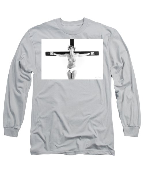 Highlight Crucifix Black And White Long Sleeve T-Shirt