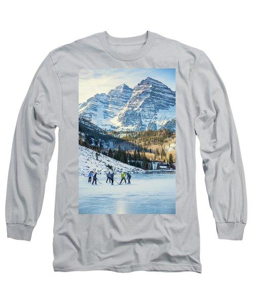 Hockey On Maroon Lake Maroon Bells Aspen Colorado Long Sleeve T-Shirt