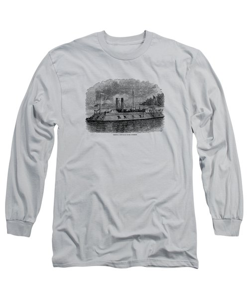 Ironclad River Gunboat Engraving - Union Civil War Long Sleeve T-Shirt