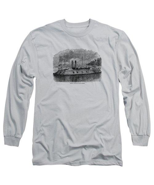 Ironclad River Gunboat Engraving - Union Civil War Long Sleeve T-Shirt