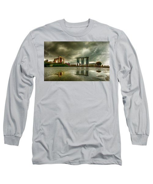 Long Sleeve T-Shirt featuring the photograph Marina Bay Sands Hotel by Chris Cousins