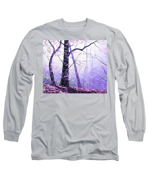 Misty Pink Trees Forest Long Sleeve T-Shirt