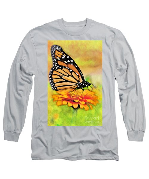 Monarch Butterfly On Flower Long Sleeve T-Shirt