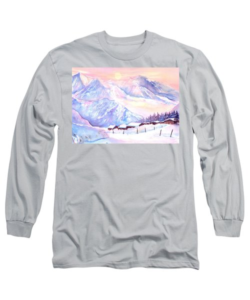 Mountain View Winter Landscape Long Sleeve T-Shirt