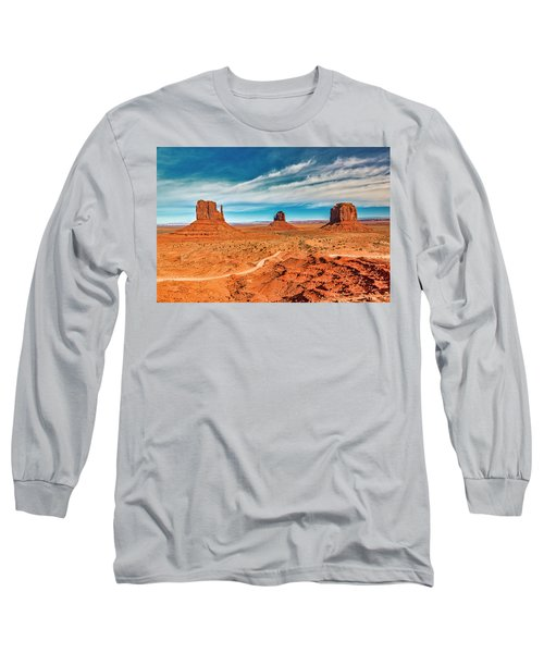 Long Sleeve T-Shirt featuring the photograph Panoramic Monument Valley by Andy Crawford