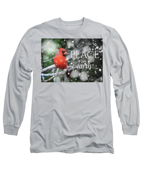 Peace On Earth W/cardinal Long Sleeve T-Shirt