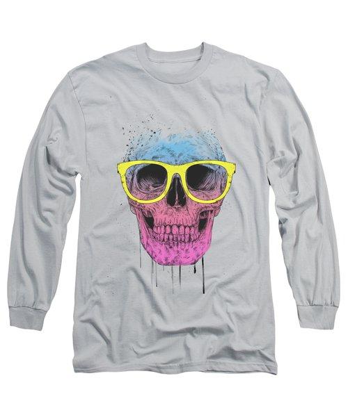 Pop Art Skull With Glasses Long Sleeve T-Shirt
