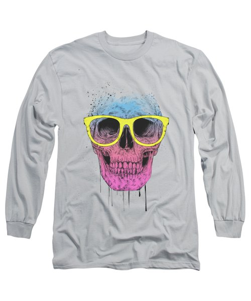 Pop Art Skull With Glasses Long Sleeve T-Shirt
