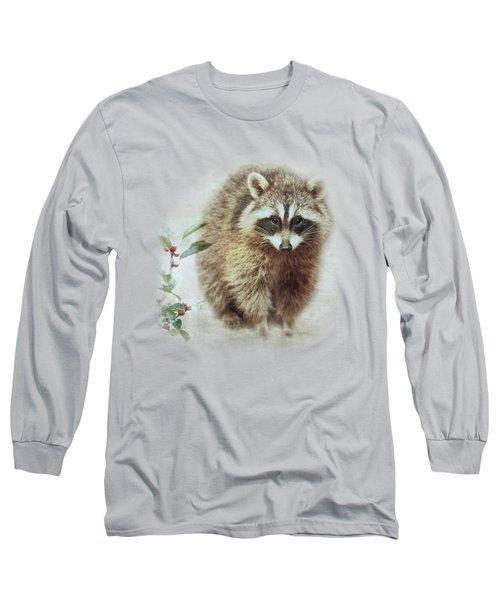 Raccoon In Winterberry Long Sleeve T-Shirt