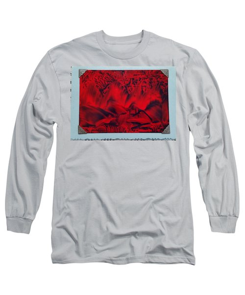 Red And Black Encaustic Abstract Long Sleeve T-Shirt