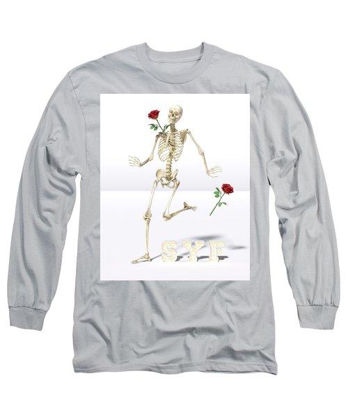 Running Rose Skeleton Long Sleeve T-Shirt