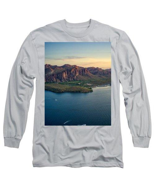 Saguaro Lake Mountain Sunset Long Sleeve T-Shirt