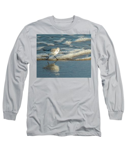 Sanderling At Assateague Island National Seashore Long Sleeve T-Shirt