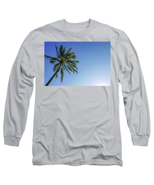 Shades Of Blue And A Palm Tree Long Sleeve T-Shirt