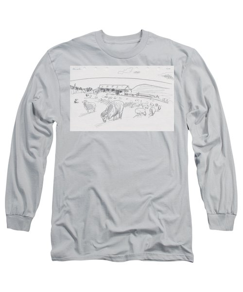 Sheep On Chatham Island, New Zealand Long Sleeve T-Shirt