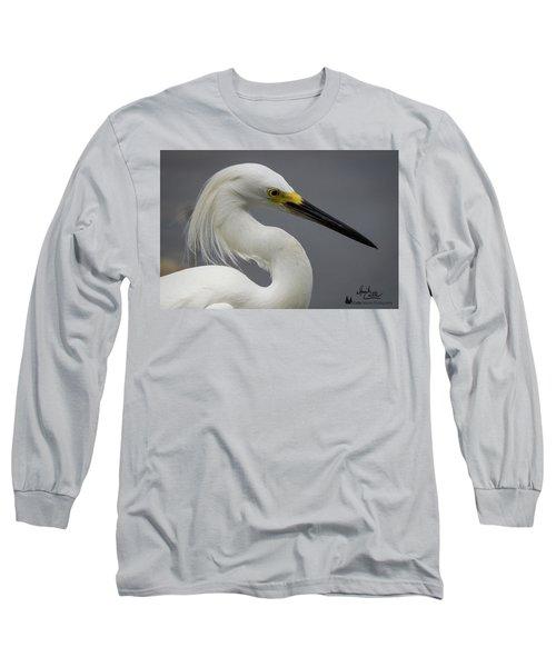 Snow Egret Portrait Long Sleeve T-Shirt