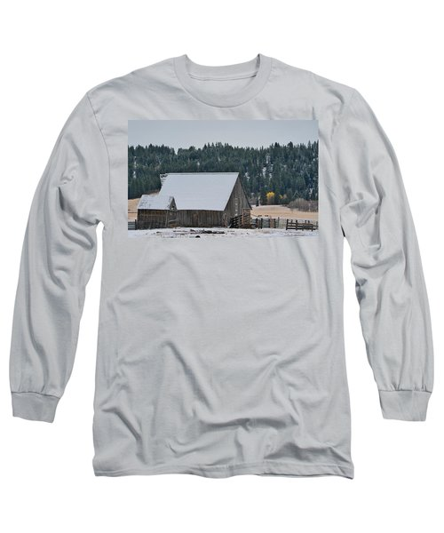 Snowy Barn Yellow Tree Long Sleeve T-Shirt