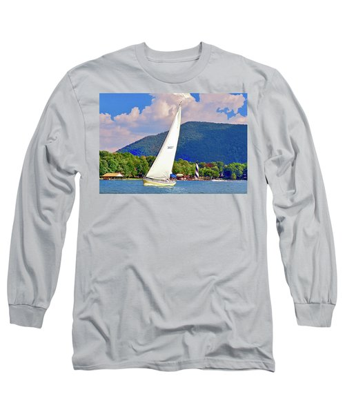 Tacking Lighthouse Sailor, Smith Mountain Lake Long Sleeve T-Shirt