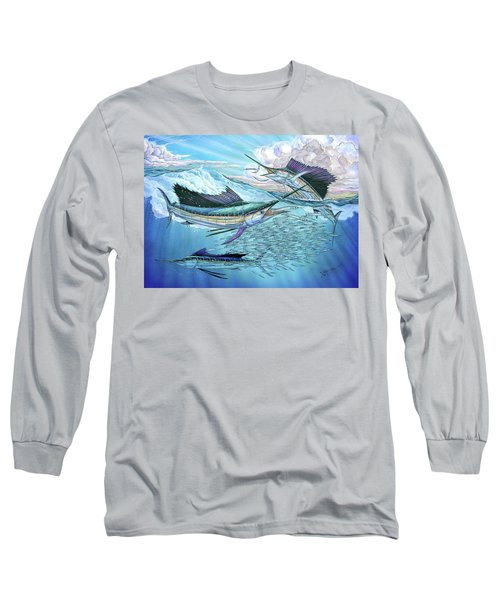 Three Sailfish And Bait Ball Long Sleeve T-Shirt