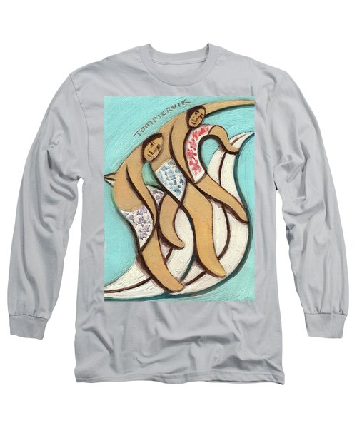 Tommervik Abstract Hawaiian Surfers Surfing Pipline Art Print Long Sleeve T-Shirt