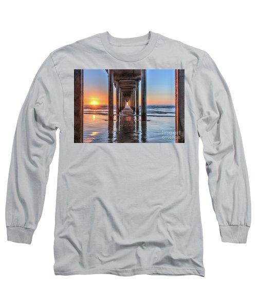 Under Scripps Pier At Sunset  ..autographed.. Long Sleeve T-Shirt