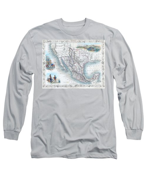 Vingage Map Of Texas, California And Mexico Long Sleeve T-Shirt