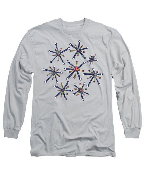 Virus Pattern Resembling Molecules - Retro Modern Microbiology Fun Long Sleeve T-Shirt