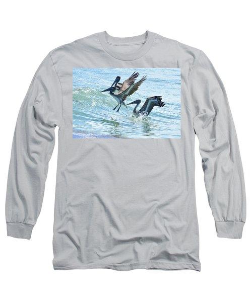 Wave Hopping Pelicans Long Sleeve T-Shirt