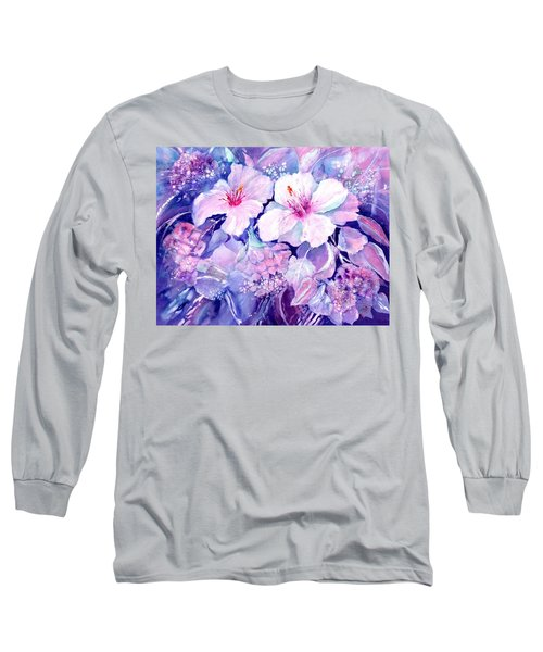 White Hibiscus And Hydrangeas Long Sleeve T-Shirt