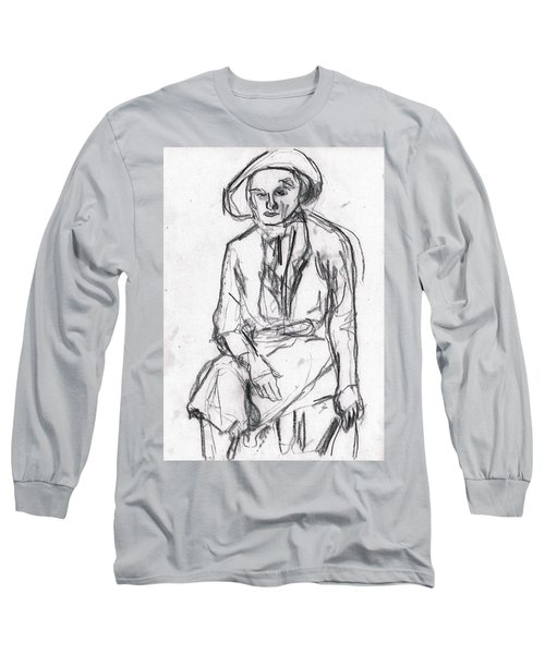 Woman In A Hat Drawing Long Sleeve T-Shirt