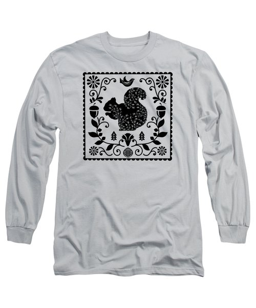 Woodland Folk Black And White Squirrel Tile Long Sleeve T-Shirt