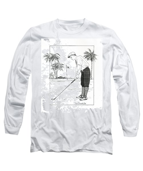 Long Sleeve T-Shirt featuring the drawing  1920's Vintage Golfer by Ira Shander
