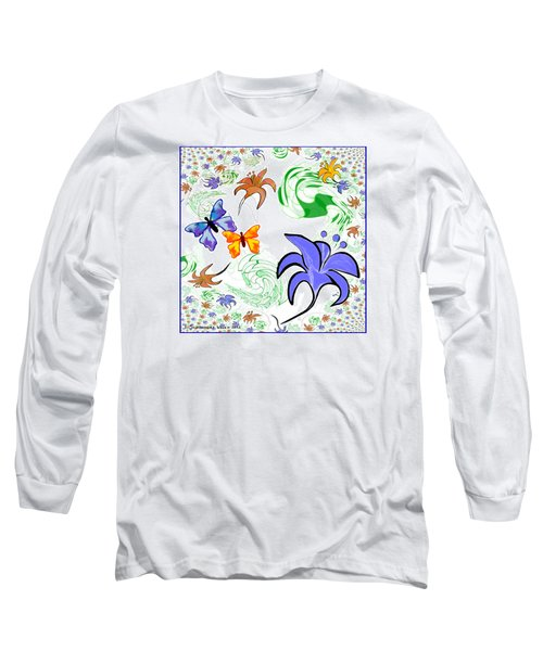 556 - Flowers And Butterflies Long Sleeve T-Shirt by Irmgard Schoendorf Welch