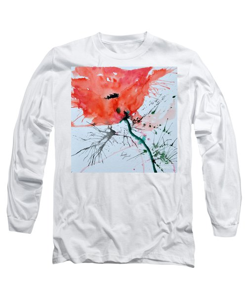Long Sleeve T-Shirt featuring the painting  Lonely Poppy by Ismeta Gruenwald