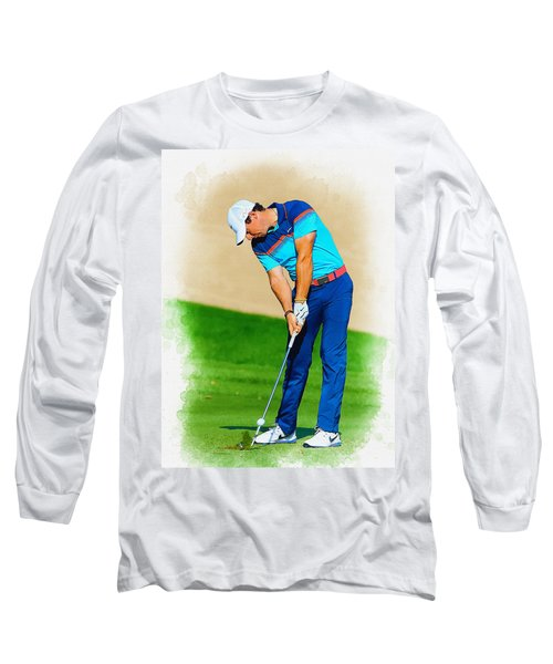 Rory Mcilroy Plays His Second Shot On The Par 4 Long Sleeve T-Shirt