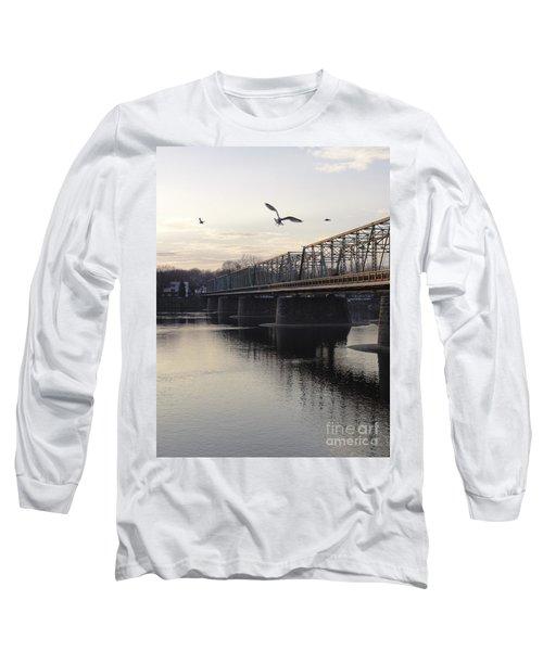 Gulls At The Bridge In January Long Sleeve T-Shirt