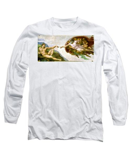 The Creation Of Adam Long Sleeve T-Shirt by Michelangelo di Lodovico Buonarroti Simoni