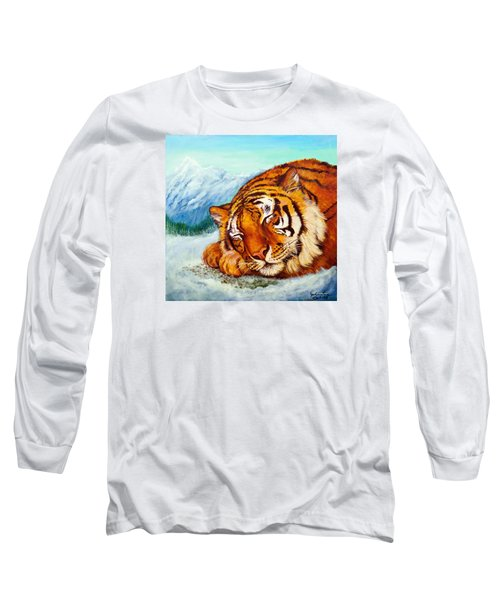 Long Sleeve T-Shirt featuring the painting  Tiger Sleeping In Snow by Bob and Nadine Johnston