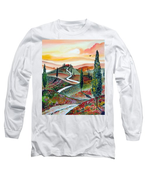 Winding Country Road Among The Hills Of Tuscany Long Sleeve T-Shirt