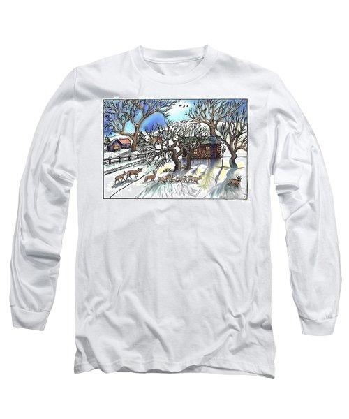 Wyoming Winter Street Scene Long Sleeve T-Shirt by Dawn Senior-Trask
